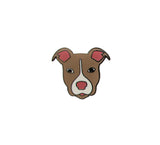 Brown Pitbull Hard Enamel Pin, Rescue Pittie Dog Lapel Pin