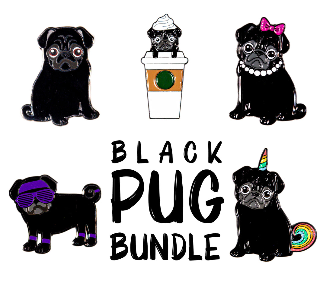 Black Pug Pin Bundle