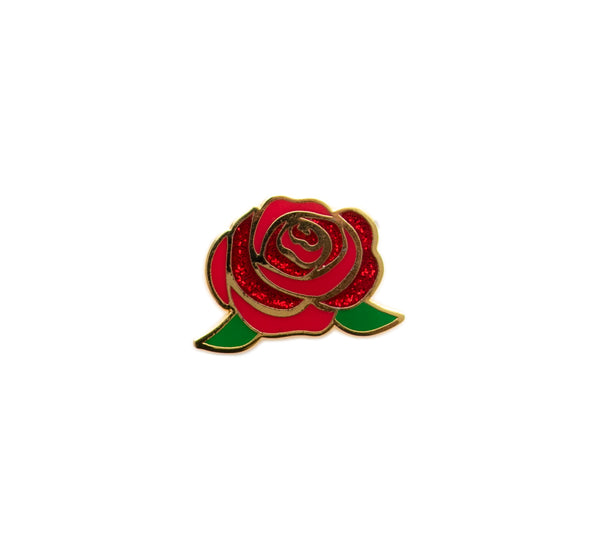 Rose Hard Enamel Pin Glitter