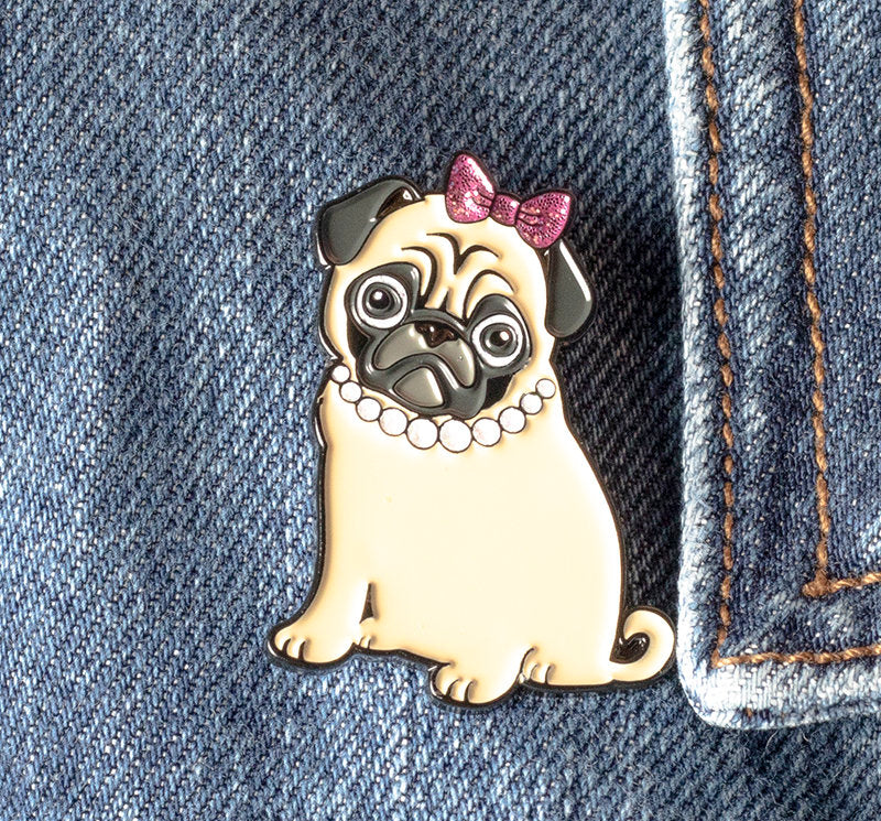Sassy Philomena the Pug Enamel Pin