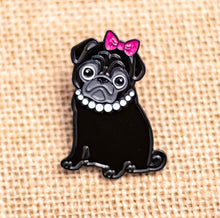Load image into Gallery viewer, Black Pug Enamel Pin |  Cute Pug Pin | Sassy Pug Gift