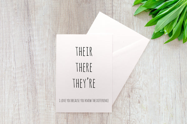 Their There They're I Grammar A2 Blank Greeting Card
