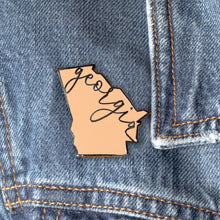 Load image into Gallery viewer, Georgia State Enamel Pin  | Georgia on my Mind I GA Peach State Love