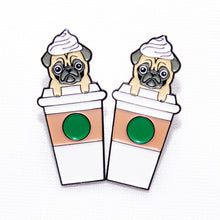 Load image into Gallery viewer, Pugkin Latte Enamel Pin, Coffee Pug Soft Enamel PIn