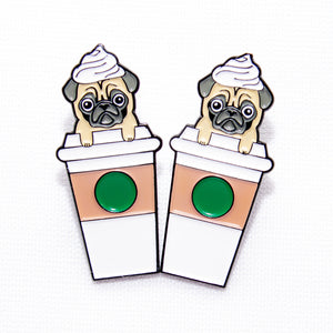 Pugkin Latte Enamel Pin, Coffee Pug Soft Enamel PIn