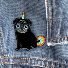 Load image into Gallery viewer, Magical Black Unicorn Pug Enamel Pin, Black Pugicorn Unipug Gift