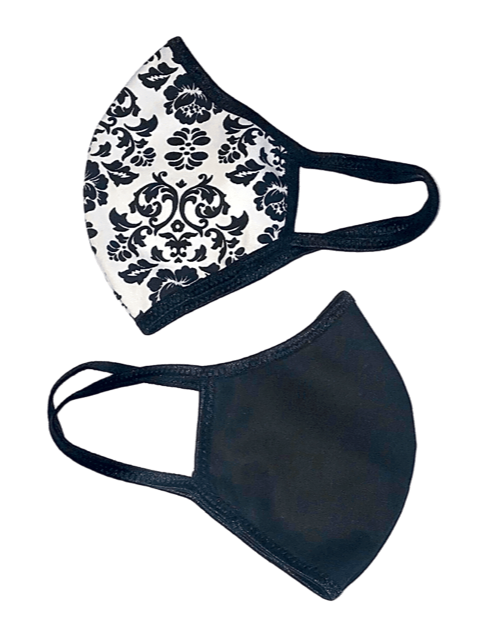 Face Mask (Behind the Ears) - Vintage Black Flower Ultra Lightweight FM