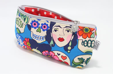 "CIGSL- Frida (Blue) ""Cigar"" Cosmetics/Tampon Slicker Bag"