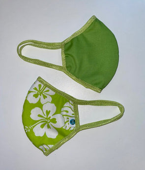 Face Mask (Behind the Ears) - Aloha (Green) Ultra Lightweight FM