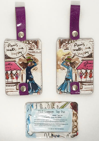 Luggage Tag Duo - I Love Paris Collection