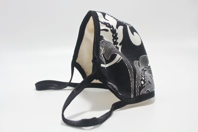 Face Mask (Behind the Ears) - White Hibiscus (Navy) Lightweight FM