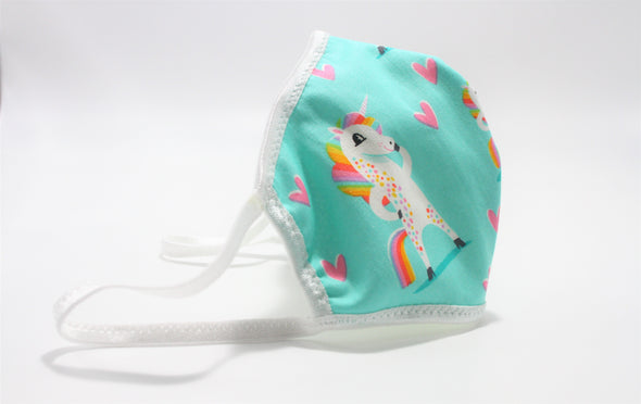Face Mask (Behind the Ears) - I Love Unicorns! Lightweight FM