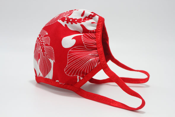 Face Mask (Behind the Ears) - White Hibiscus (Red) Ultra Lightweight FM