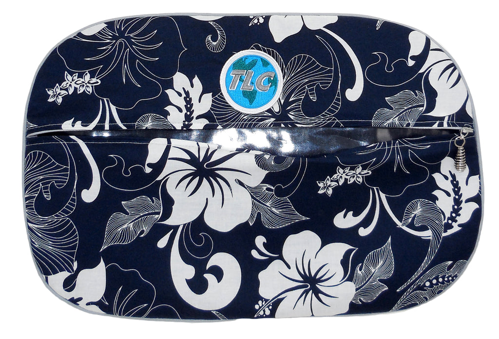 SBSL - White Hibiscus (Navy) Shoe Bag