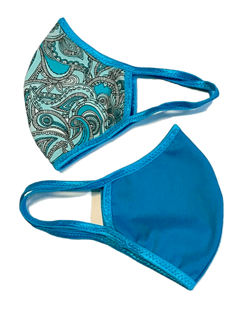 Face Mask (Behind the Ears) - Turquoise Paisley Ultra Lightweight FM