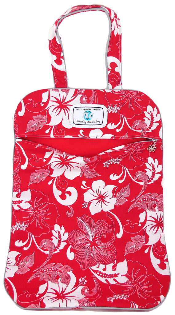 LW White Hibiscus Laundry Bag (Red)