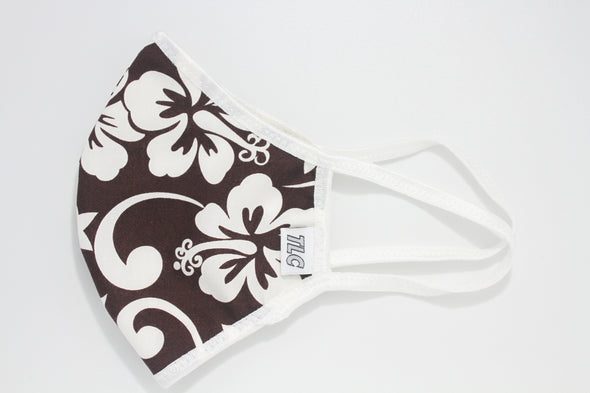 Face Mask (Behind the Ears) - White & Chocolate Hawaiian Ultra Lightweight FM