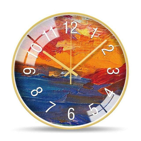 Horloge Murale Design Gouache Orange