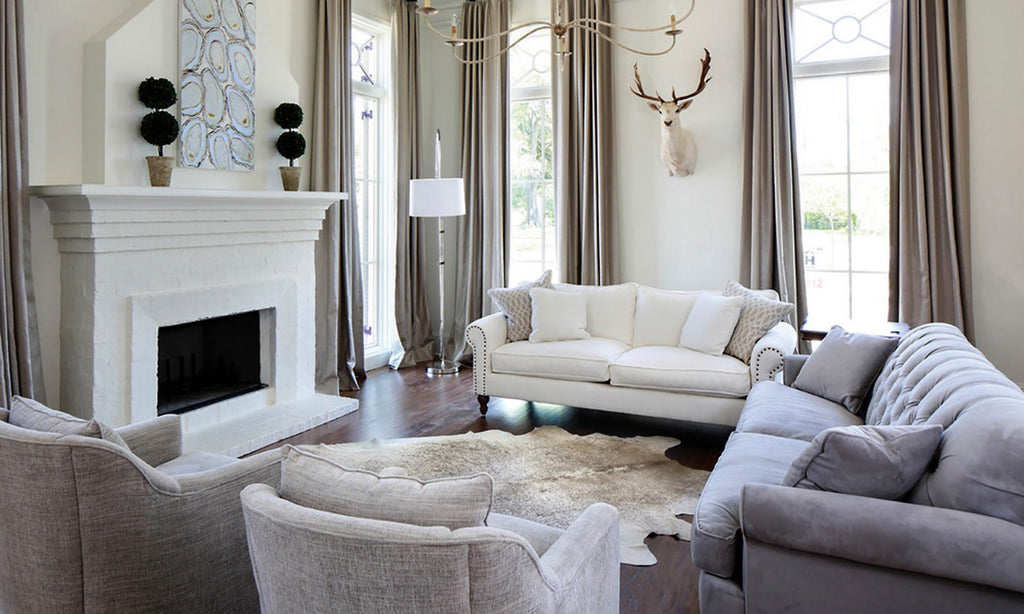 Gray Beige cowhide rug living room homepage pic