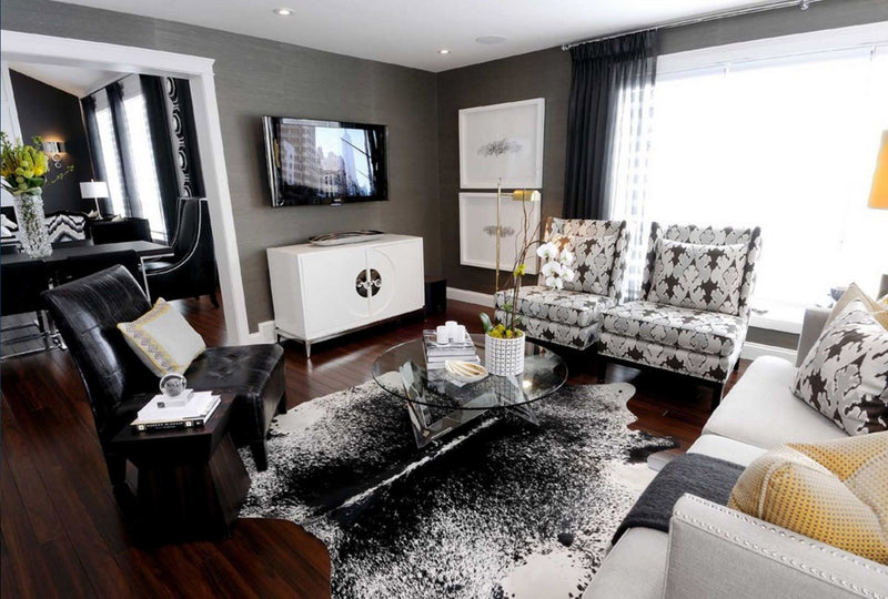 Salt & Pepper Black Cowhide Rug interior