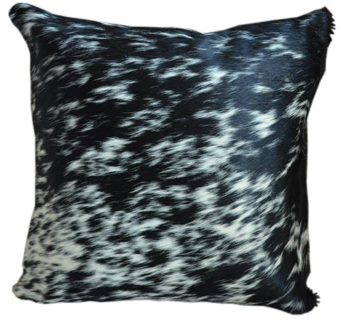 Black Salt and Pepper Cowhide Pillow - Double Sided