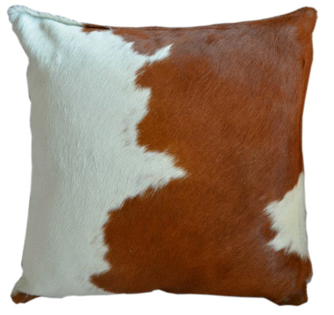 Brown and White Cowhide Pillow - Double Sided