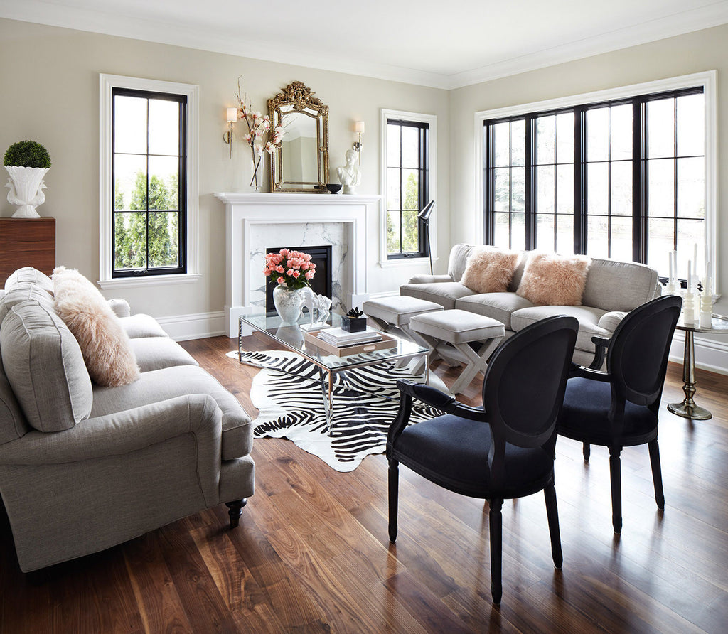 Zebra print cowhide rug off white l cowhide imports for Cow bedroom ideas