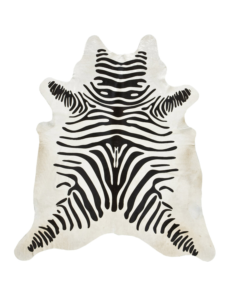 Zebra Print on off-white Cowhide rug