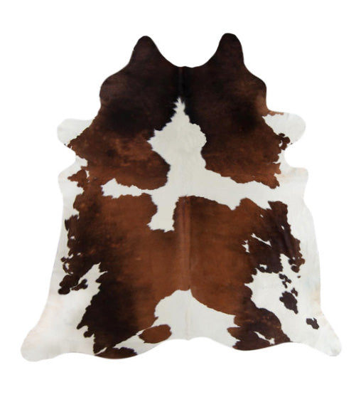 Chocolate and white cowhide rug large picture