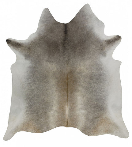 Dark Gray Beige Solid Cowhide Rug - L
