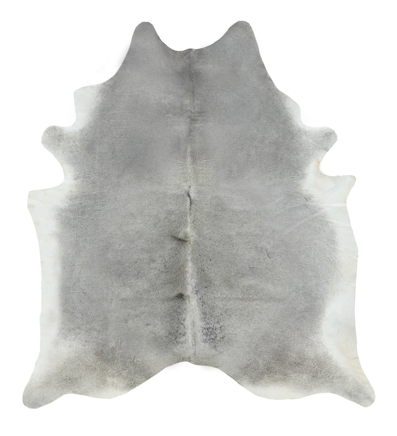 Solid gray cowhide rug large