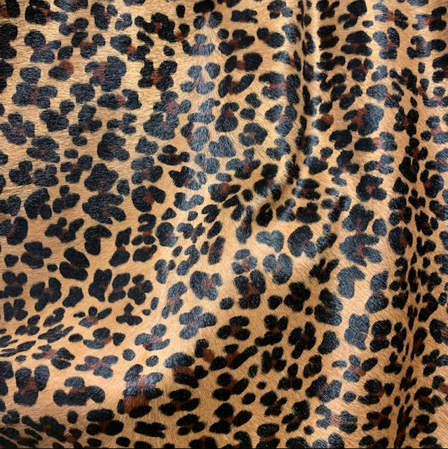 Leopard on Caramel cowhide close up