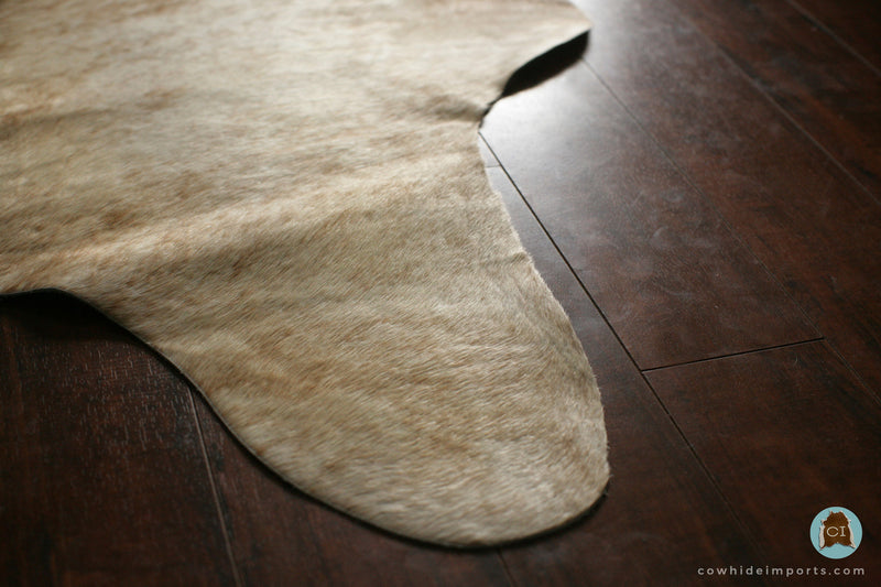 Large Light Brown Brindle Cowhide Rug close up