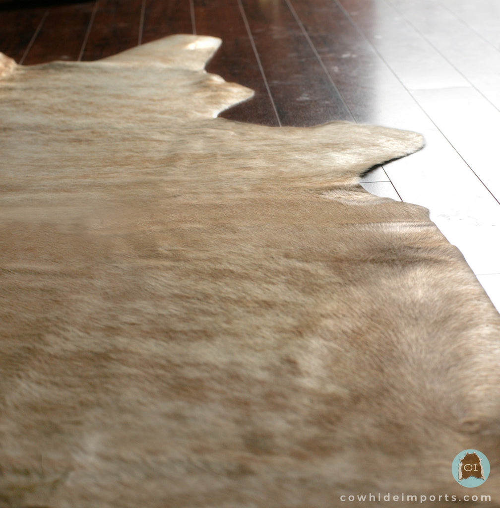 Large Light Brown Brindle Cowhide Rug Alternate Angle