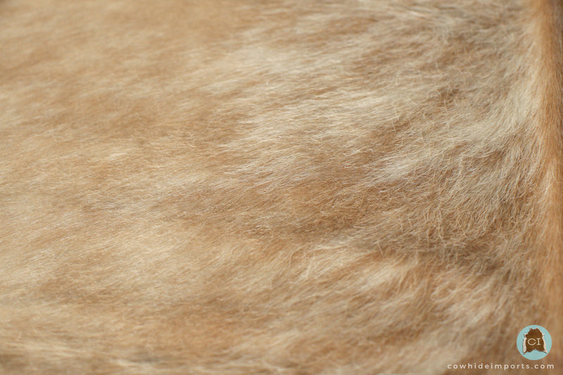 Large Light Brown Brindle Cowhide Rug super close up