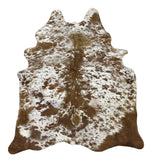 Large longhorn brown cowhide rug alt