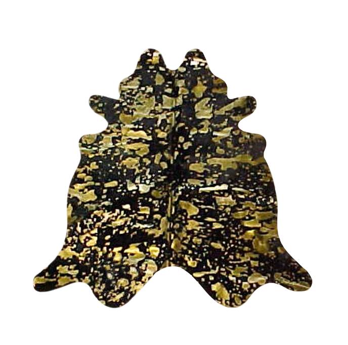 Metallic Gold on Black Cowhide Rug