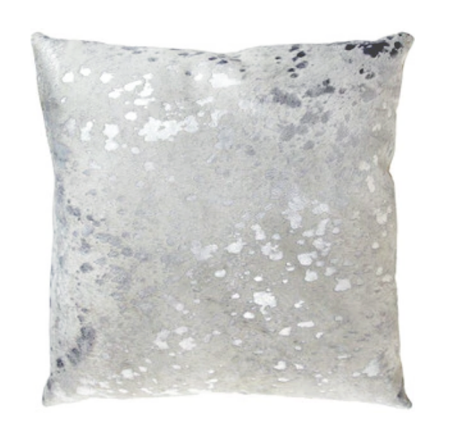 Silver Metallic Cowhide Pillow - Double Sided