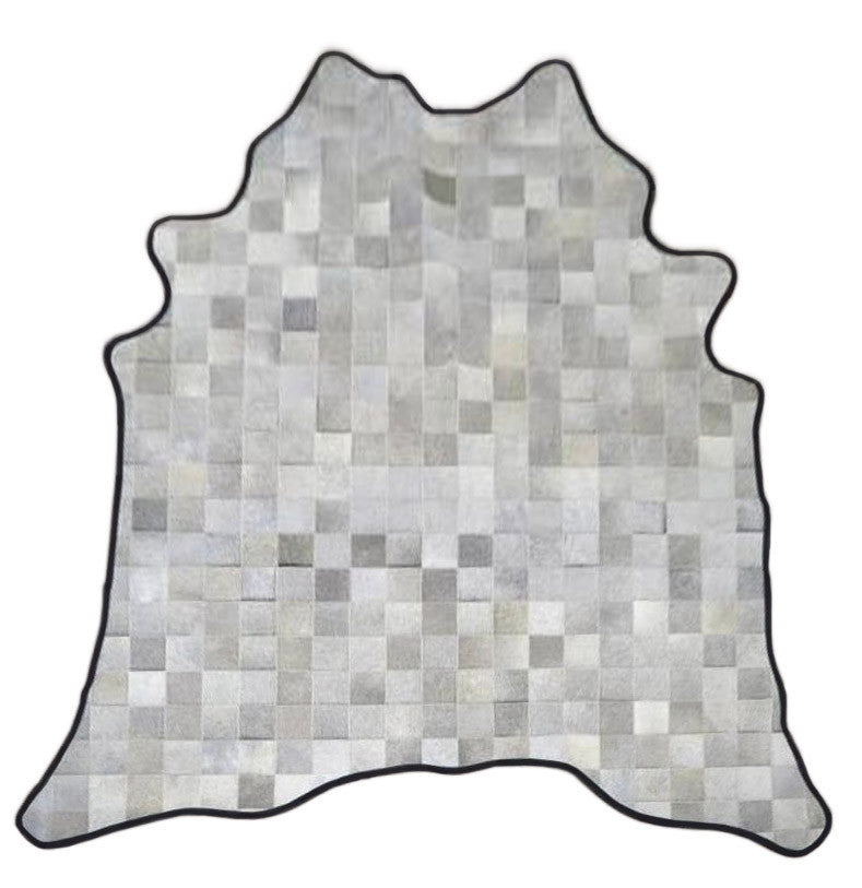 Gray Square Pattern Cowhide Rug with Leather Binding