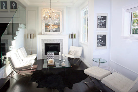 Solid black cowhide rug living room