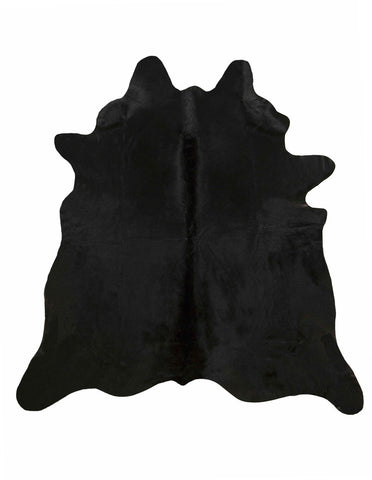 Solid black cowhide rug large