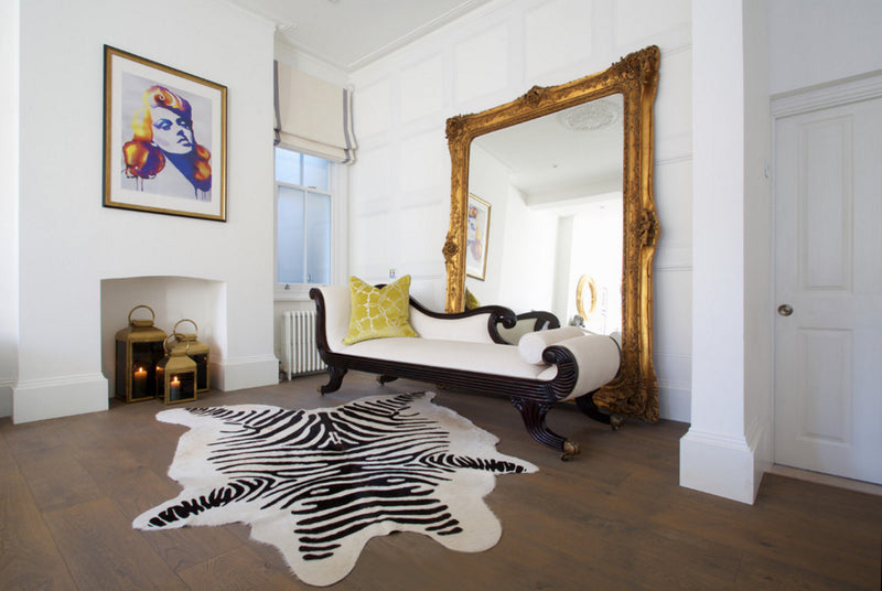Zebra Print on off-white Cowhide rug eclectic room