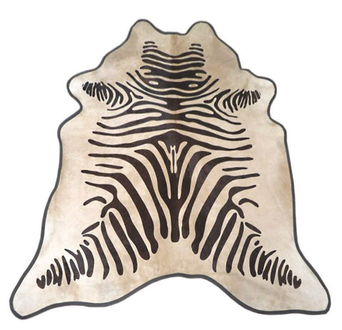 Zebra Print Cowhide Rug (Brown On Light Beige w/ Leather Binding)