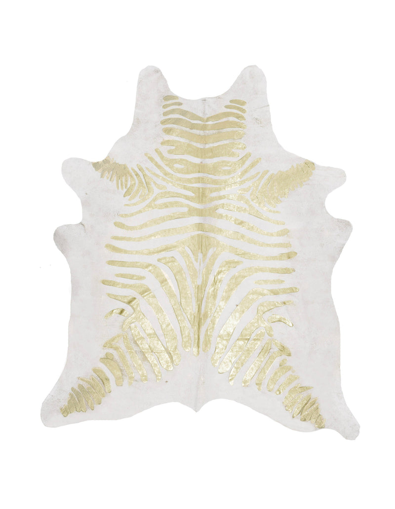 Gold Zebra print on off white cowhide