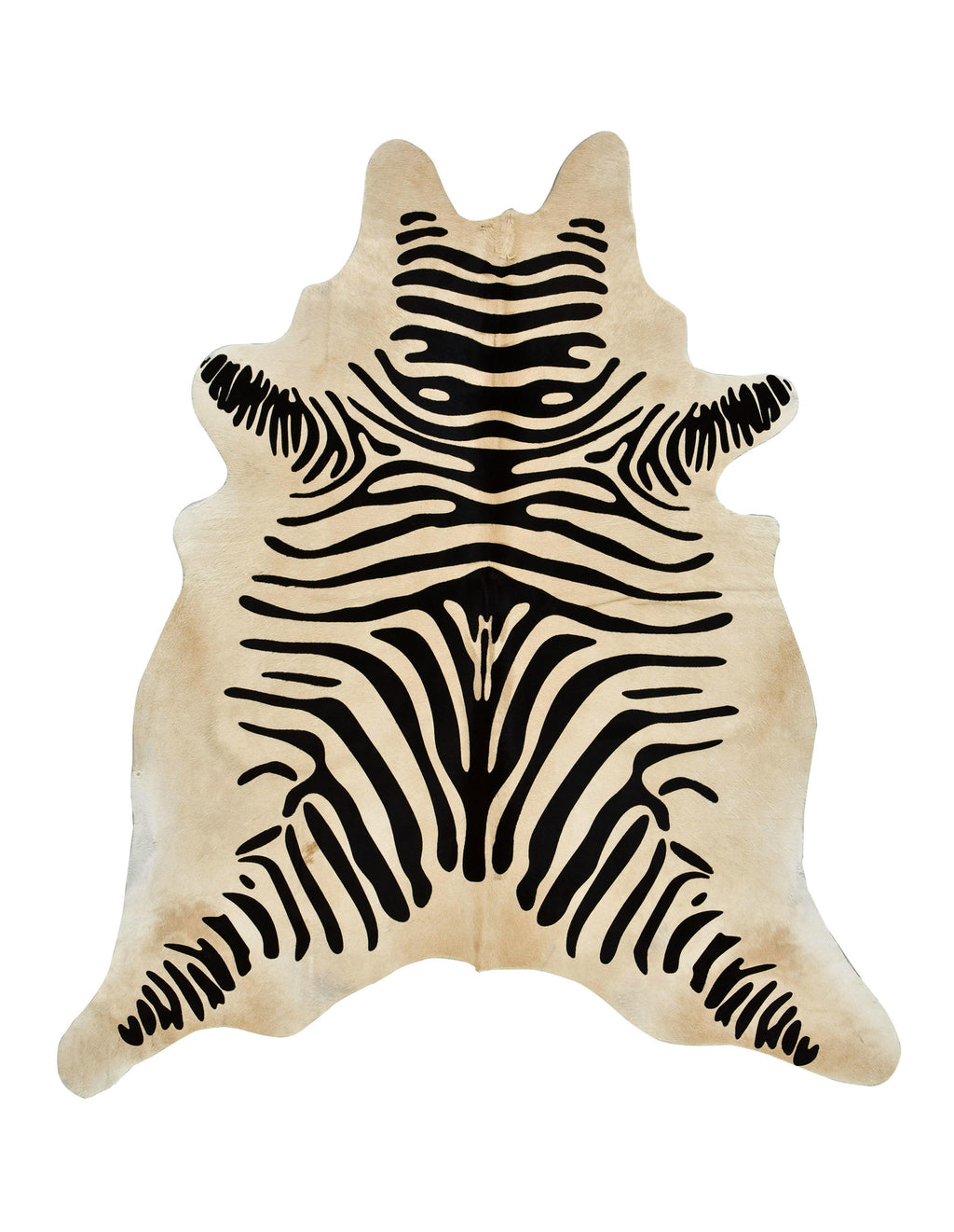 Zebra Print cowhide rug Black on Light Brown