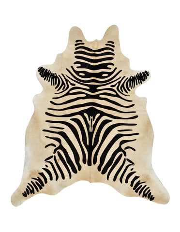 Zebra Print Cowhide Rug (Light Brown) - L