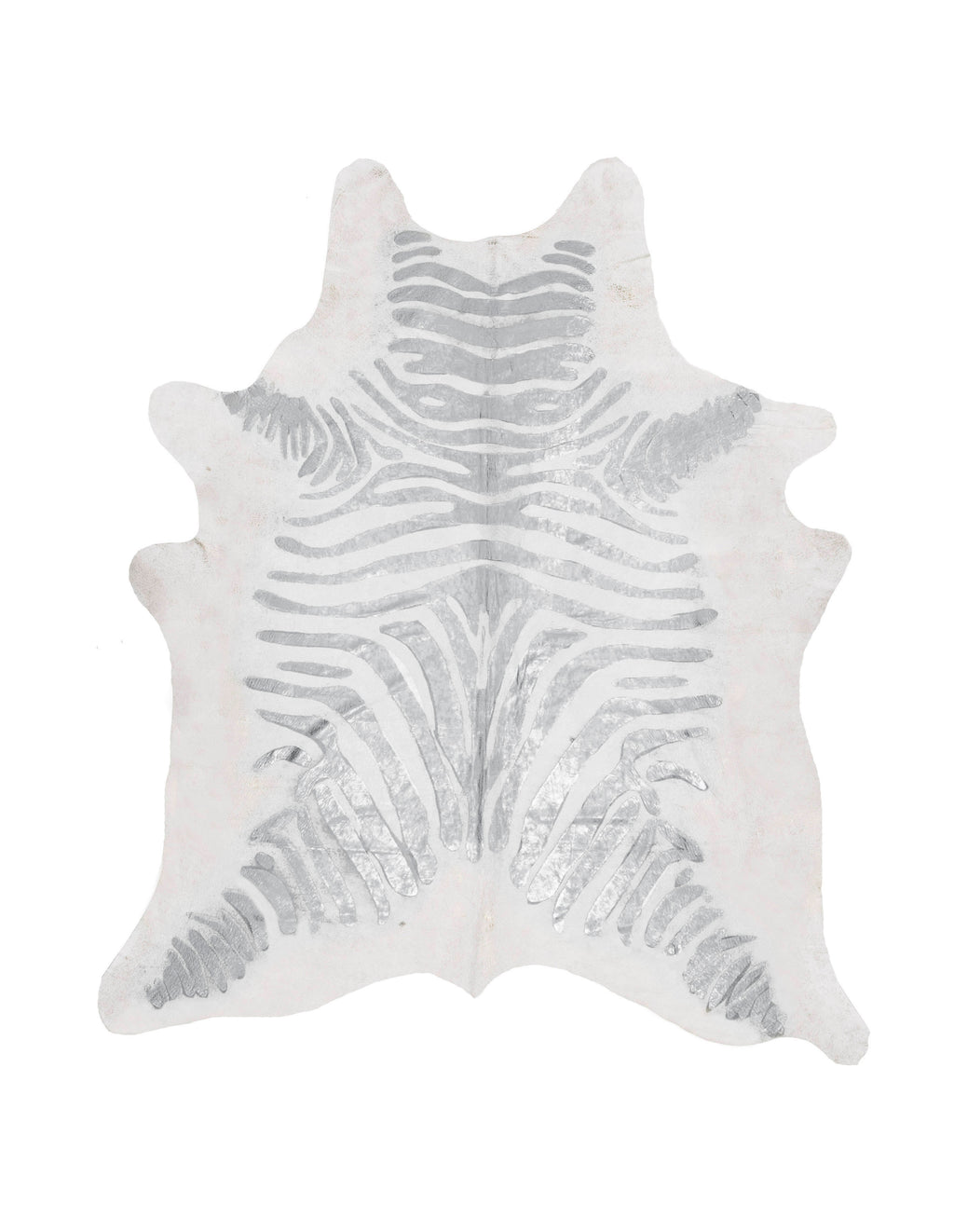 Zebra Silver on Off White Metallic Cowhide Rug