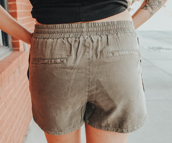 Olive Green Soft Shorts - Lucie & Willow Boutique