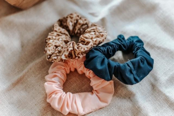 Leopard, Navy, & Pink Scrunchie Set (3) - Lucie & Willow Boutique