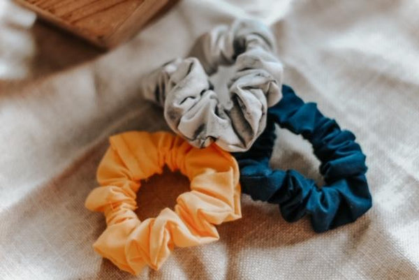 Marble, Navy, & Yellow Scrunchie Set (3)